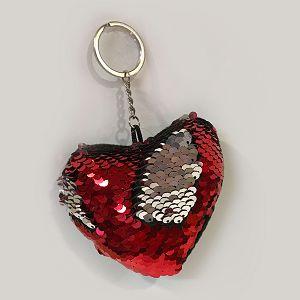 PRIVJESAK sa šljokicama srce 7.5x12.5cm crveni