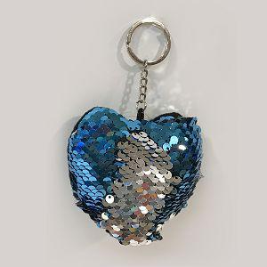 PRIVJESAK sa šljokicama srce 7.5x12.5cm plavi