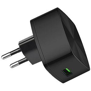 PUNJAČ USB KUĆNI 3.0A (3000 mA), Hoco, crni, QC, bez kabla, prenaponska zaštita