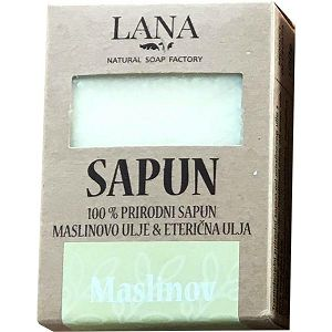 SAPUN MASLINOV prirodni, veliki u kutiji 100gr LANA NATURAL - Hrvatski proizvod