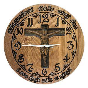 SAT drveni ručni rad 35cm Blagoslovi Bože ovaj dom