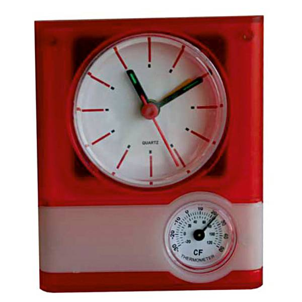 Sat stolni Weather crveni sa termometrom i vlagomjerom