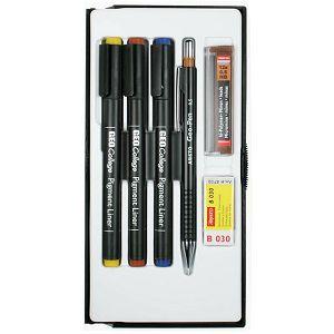 Školski set Aristo pigment liner 0,3+0,5+0,7mm + gumica + tehnička 0,5 + mine