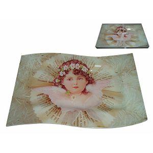 Tanjur staklo dekorativni u poklon kutiji 35x22x2cm