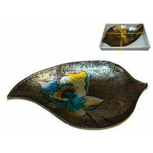 Zdjela staklo dekorativna u poklon kutiji 37x22x5cm - List
