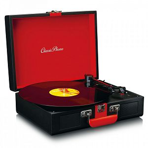 ZVUČNIK LENCO TT-110, bluetooth, crni/crveni, gramofon retro izgled